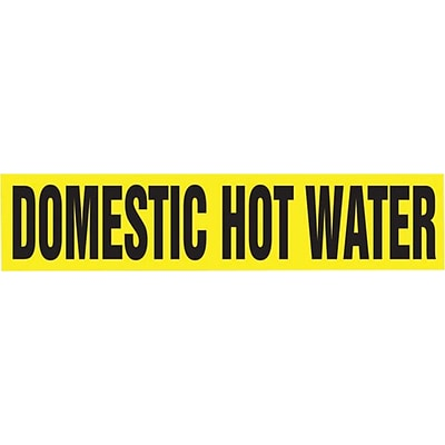 Accuform Signs® DOMESTIC HOT WATER Self Stick Stock Pipe Marker For 3/4-1¼Dia. Pipe, Black/Yellow