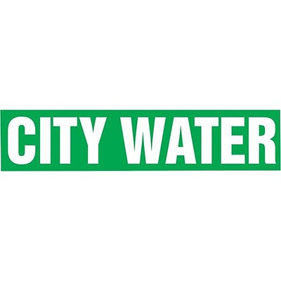 Accuform Signs® CITY WATER Snap Tite Stock Pipe Marker For 2 1/4 - 3Dia. Pipe, White/Green, 1/Pack