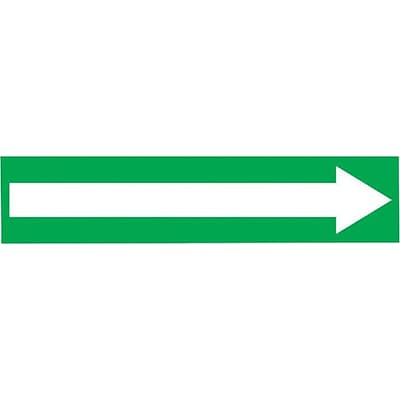 Accuform Signs® Long Arrow Symbol Self Stick Stock Pipe Marker For 2 1/2 - 6Dia. Pipe, White/Green