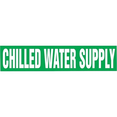 Accuform Signs® CHILLED WATER SUPPLY Snap Tite Stock Pipe Marker For 2¼ - 3Dia. Pipe, White/Green