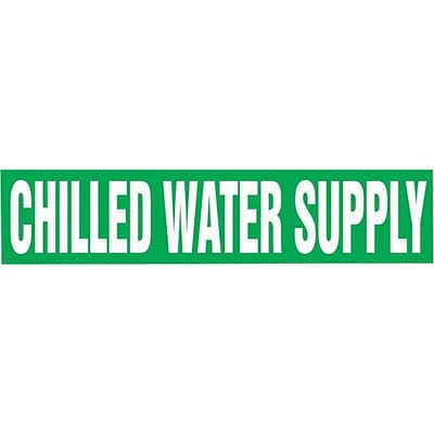 Accuform Signs® CHILLED WATER SUPPLY Self Stick Stock Pipe Marker For 2 1/2-6Dia. Pipe, WHT/Green