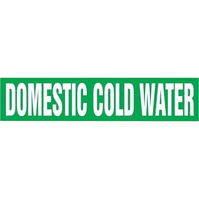 Accuform Signs® DOMESTIC COLD WATER Snap Tite Stock Pipe Marker For 2¼ - 3Dia. Pipe, White/Green