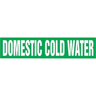 Accuform Signs® DOMESTIC COLD WATER Self Stick Stock Pipe Marker For 2 1/2-6Dia. Pipe, White/Green