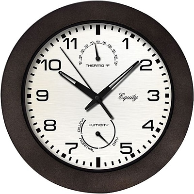 Equity by La Crosse 10 Inch IN/OUT Brown Wall Clock with Thermometer and Hygrometer (29005)