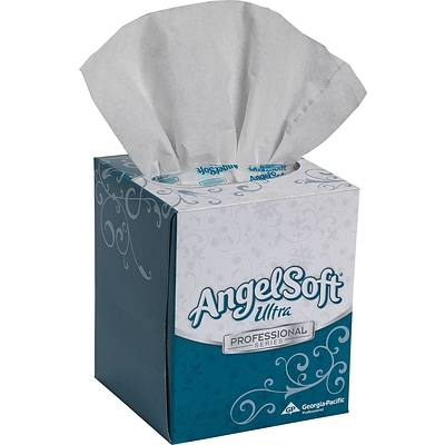 Angel Soft Ultra Professional Series™ Facial Tissue, 2-Ply, Cube, White, 96 Sheets/Box, 10 Boxes/Case (4636014)