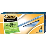 BIC Round Stic Xtra-Life Ballpoint Pen, Medium Point, 1.0mm, Blue Ink, Dozen (20120/GSM11BL)