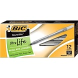 BIC Round Stic Xtra-Life Ballpoint Pen, Medium Point, 1.0mm, Black Ink, Dozen (GSM11BK)