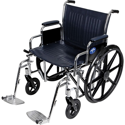 Medline Excel Extra-wide Wheelchairs, 22 W x 18 D Seat, Removable Desk Length Arm, Swing Away Leg
