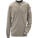 Workrite® Walls® 7 oz. Flame Resistant 1-Pocket Regular Henley Shirt, Khaki, 2XL