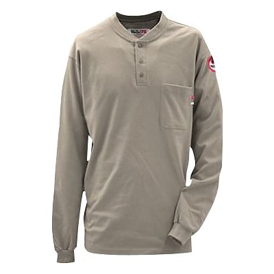 Workrite® Walls® 7 oz. Flame Resistant 1-Pocket Regular Henley Shirt, Khaki, Medium