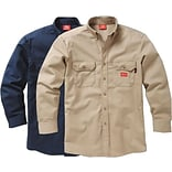Workrite® Dickies® 7 oz. Amtex™ Flame Resistant 2-Pocket Regular Button-Down Work Shirt, Navy, 2XL