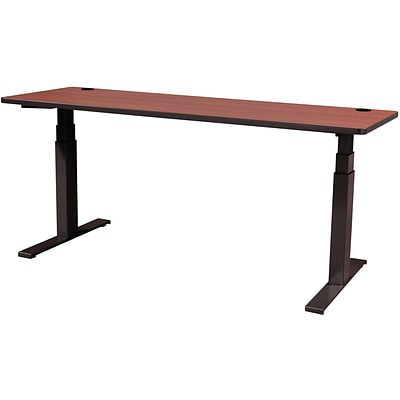60 x 30 Electric Height-Adjustable Table, Cherry Top, Black Base