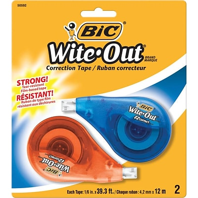 BIC Wite-Out EZ Correct Correction Tape, 2/Pk (WOTAPP21)