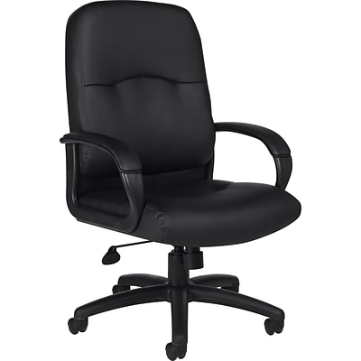 Offices To Go® Executive Chair, Luxhide Leather, Black, Seat: 20 1/2W x 18D, Back: 21W x 24H