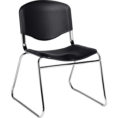 Offices To Go® Armless Stack Chair, Plastic, Black, Seat: 18w x 18D, Back: 18W x 14H, 2/Ct