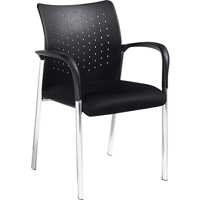 Offices To Go® Occasional Guest Chair w/Arms, Plastic/Mesh, Black, Seat: 18x18, Back: 18x15, 2pk