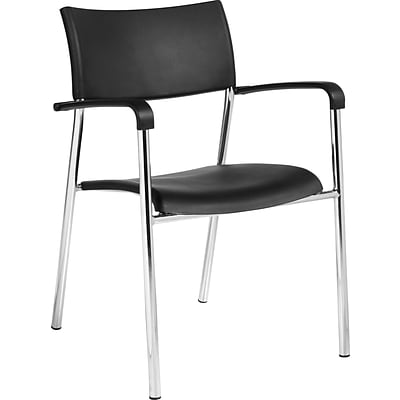 Offices To Go® Stack Chair, Plastic, Black, Seat: 16 1/2W x 16D, Back: 17 1/2W x 14 1/2H, 4/Ct