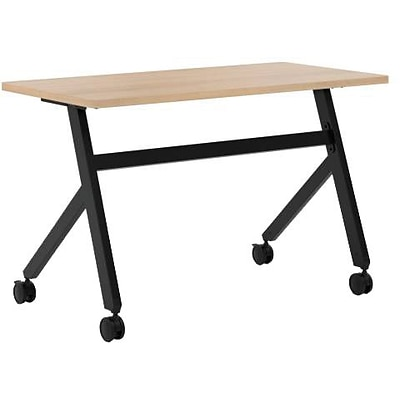 basyx by HON® Multi-Purpose Table, Fixed Base, 48W x 24D, Wheat Laminate, Black Finish