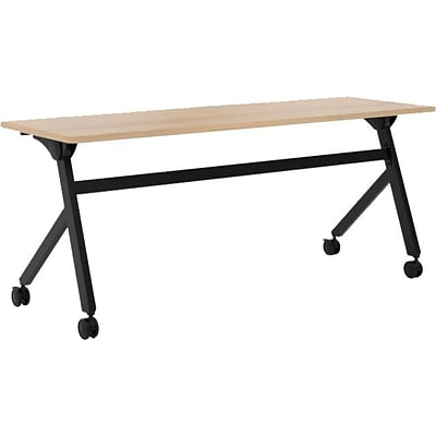 basyx by HON® Multi-Purpose Table, Flip Base, 72W x 24D, Wheat Laminate, Black Finish