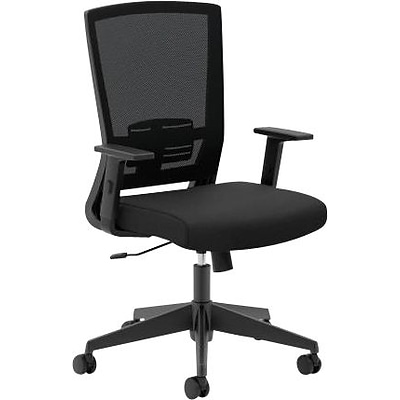 basyx by HON® HVL541 Mesh Task Chair, Center-Tilt, Tension, Lock, Adjustable Lumbar, Arms, Black Fabric