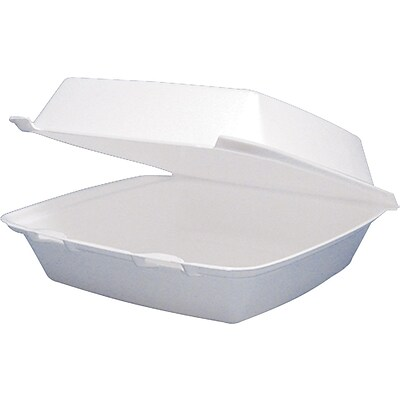 Dart® Foam Hinged Lid Carryout Container, 8-3/8x7-7/8x3-1/4, 200/Case