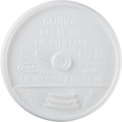 Dart® Plastic Sip-Thru Lid for DCC12J12 Cup; White, 1000/Case