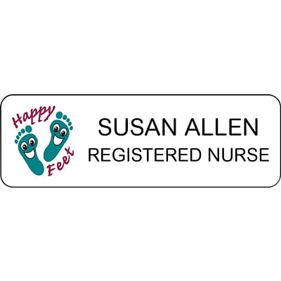 Medical Arts Press® Designer Name Badges; Standard, Happy Feet
