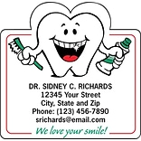 Medical Arts Press® Dental Die-Cut Magnets; 2-3/4x2-1/8, Smiley Tooth w/Brush and Paste