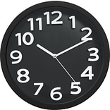 Victory Light Raised Numerals 13 Silent Sweep Black Wall Clock (TC62127B)