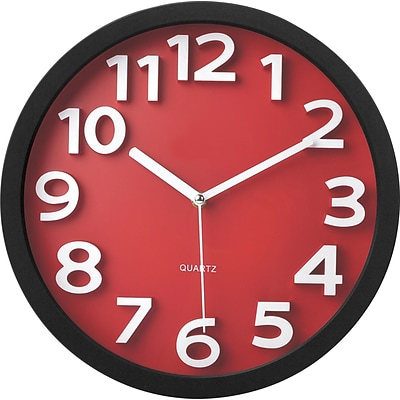 TEMPUS Wall Clock, with Raised Numerals and Silent Sweep Red Dial, Plastic 13(TC62127R)