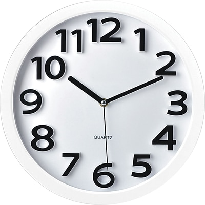 TEMPUS Wall Clock, with Raised Numerals and Silent Sweep White Dial, Plastic 13(TC62127W)