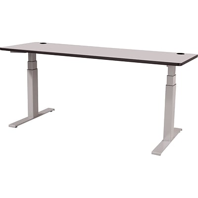 60 x 30 Electric Height-Adjustable Table, Gray Top, Gray Base