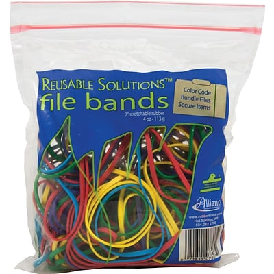 Reusable Solutions™ #117B File Bands, Assorted Colors, Approximately 50/Resealable Bag