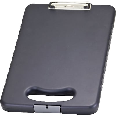 OIC® Plastic Ergonomic Handle Tablet Clipboard Case, Letter, Charcoal, 16.1 x 10.2 x 1.7