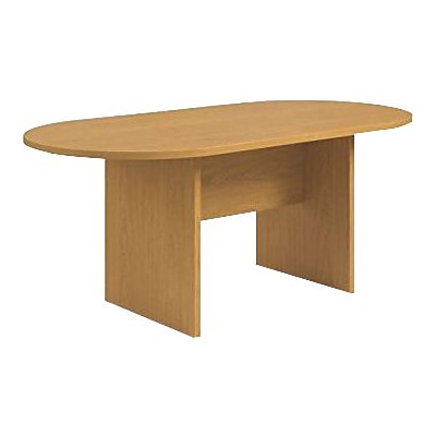 HON Preside Laminate Table, Racetrack, Flat Edge, Panel Base, 72W, Harvest Finish