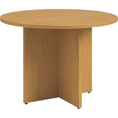 HON Preside Laminate Table Round Flat Edge Panel XBase - Hon preside table
