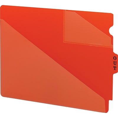 Smead® End-Tab Poly Out Guides, 2 Pocket Style, Center Position Tab, Extra Wide Letter, Red, 50/Bx (61960)