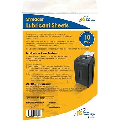 Royal Sovereign CRS-SLS Shredder Lubricant Sheets, 10/Pack