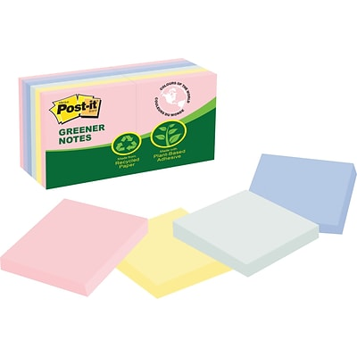 Post-it® Greener Notes, 3 x 3, Helsinki Collection, 12 Pads/Pack (654-RP-A)