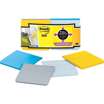 Post-it® Super Sticky Full Adhesive 3 x 3 Lined Ruled New York Notes, 12 Pads/Pack