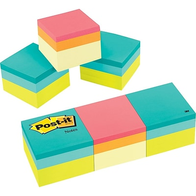 Post-it® Notes Cube, 2 x 2, Green Wave, Canary Yellow Wave, 3 Cubes/Pack (2051-3PK)