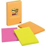 Post-it® Super Sticky Notes, 4 x 6, Rio De Janeiro Collection, Lined, 3 Pads/Pack (6603SSUC)