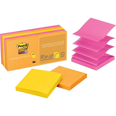 Post-it® Super Sticky Pop-Up Notes, 3 x 3, Rio de Janeiro Collection, 10 Pads/Pack (R33010SSAU)