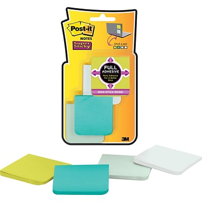 Post-it® Super Sticky Full Adhesive Notes, 2 x 2, Bora Bora Collection, 8 Pads/Pack (F220-8SSFM)