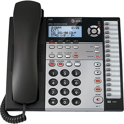 AT&T 1080 4-Line Expandable Corded Small Business Telephone with Digital Answering System, Silver/Black