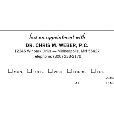 Basic Appointment Cards; Layout A, Smooth Finish, Buff