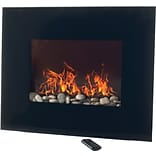 Northwest Electric Fireplace with Wall Mount, Black Glass Panel