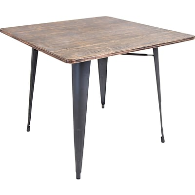 Lumisource Oregon Wood and Metal Dining table: 36 Square