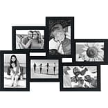 Malden 6-Opening Wood Puzzle Collage Picture Frame, Black, 4 x 6