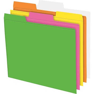 Pendaflex® Glow File Folders, 1/3 Cut Top Tab, Letter, Assorted Colors, 24/Bx